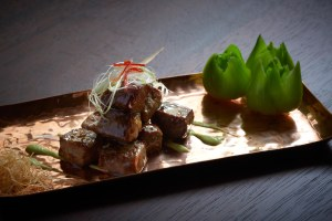 Duddell's fried beef cube, wasabi soy sauce was sensationally tender