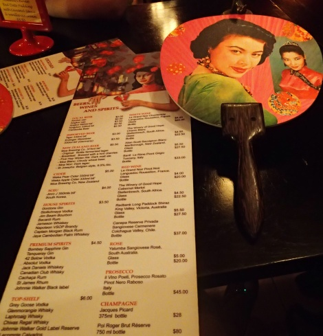 The drinks menu at the funky Miss Wong