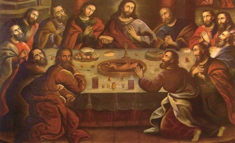 This painting hangs in a church in Peru and depicts guinea pig on the menu at the last supper
