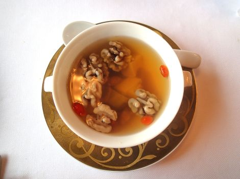 Double boiled sea whelk An outstanding double boiled soup, this classic Cantonese soup was the most popular on the day. The almonds, so plump and soft from the cooking process, that they almost melted in the mouth.