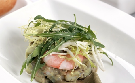 Scallop and prawn salad with tomato, cucumber and avocado