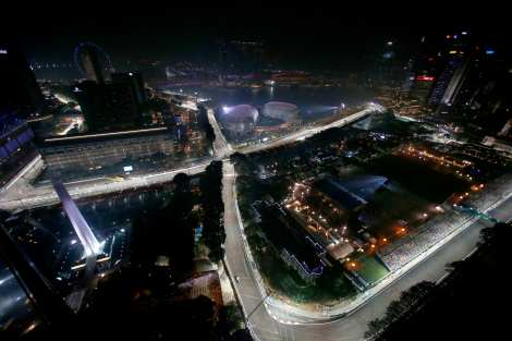 Marina Bay Street Circuit seen from above