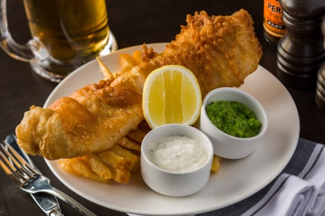 Fish and chips with crushed peas from Gordon Ramsay
